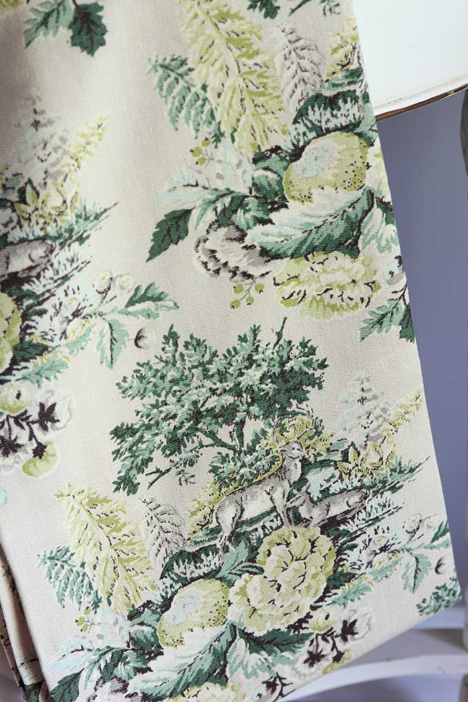 Vintage barkcloth fabric deer hunting pattern