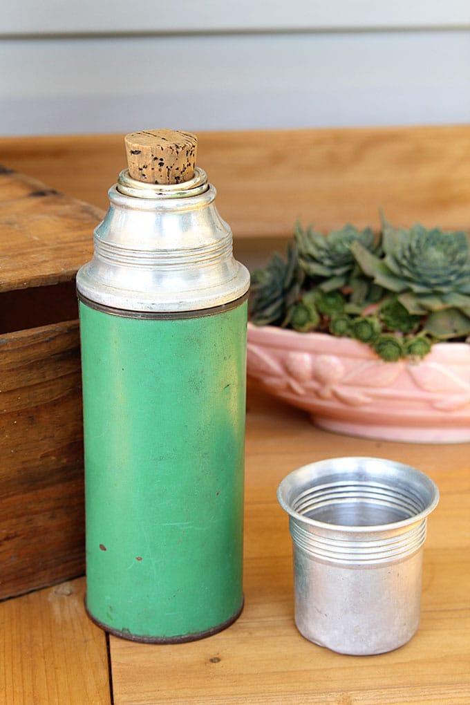 Vintage jadeite green Icy Hot vacuum bottle thermos