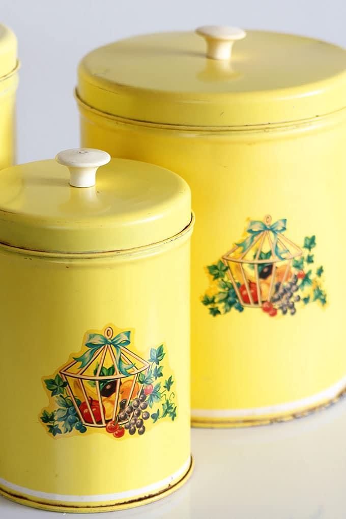 Vintage metal canister set