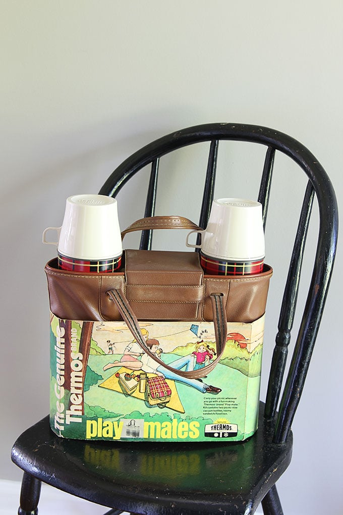Vintage plaid thermos set