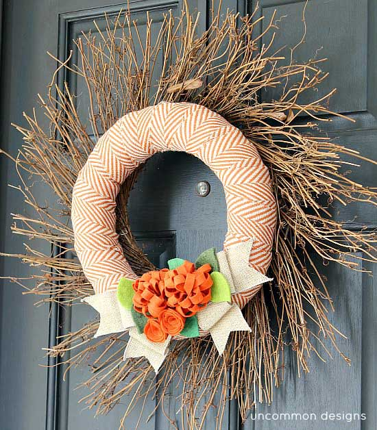 Fabric and felt fall wreath by Uncommon Designs