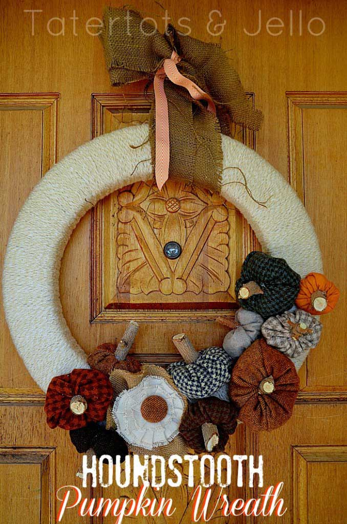 Fabric pumpkin wreath from Tatertots And Jello
