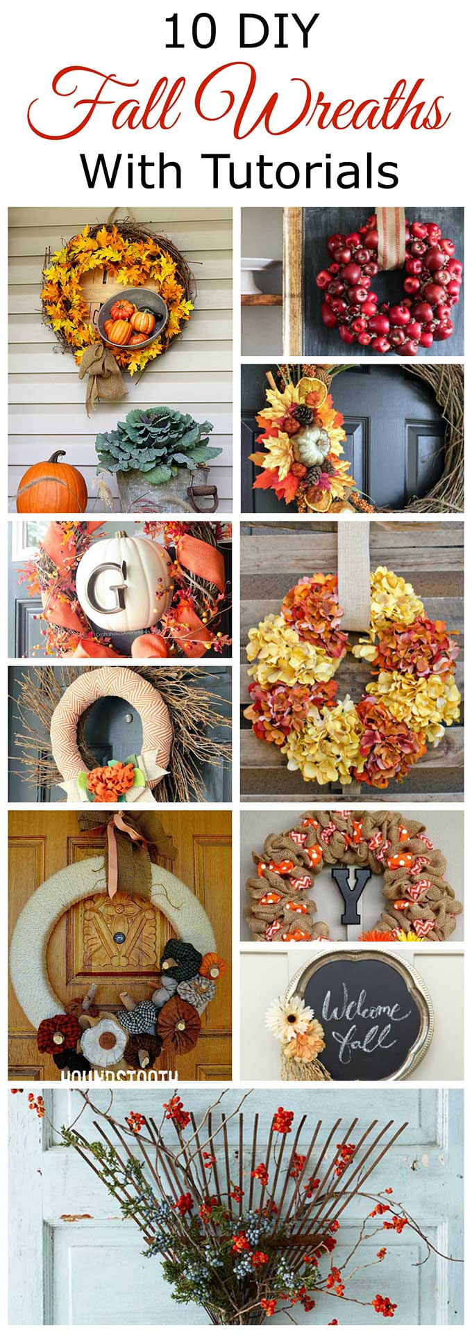 Celebrate autumn with one of these 10 DIY fall wreaths for your front door. Including tutorials and lots of great fall inspiration! #fall #diy #wreath #autumn