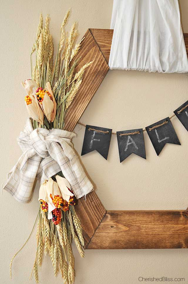 Rustic wooden fall wreath from Cherished Bliss