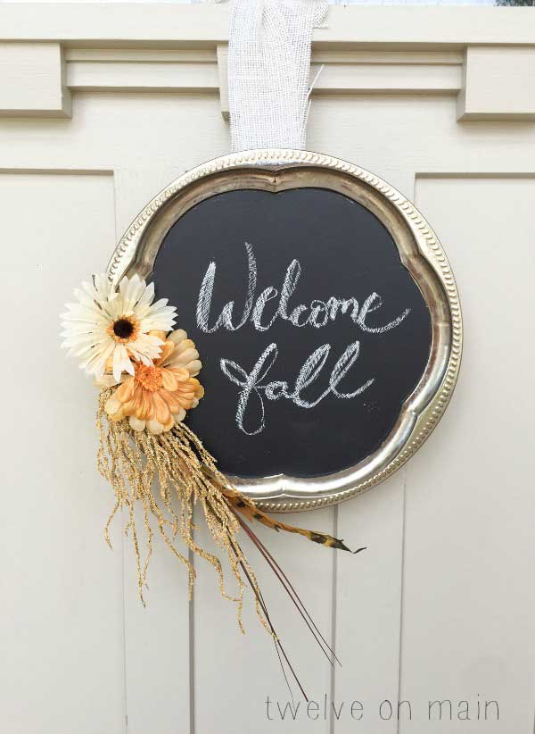 Chalkboard fall wreath made from repurposed vintage silver tray from Twelve On Main