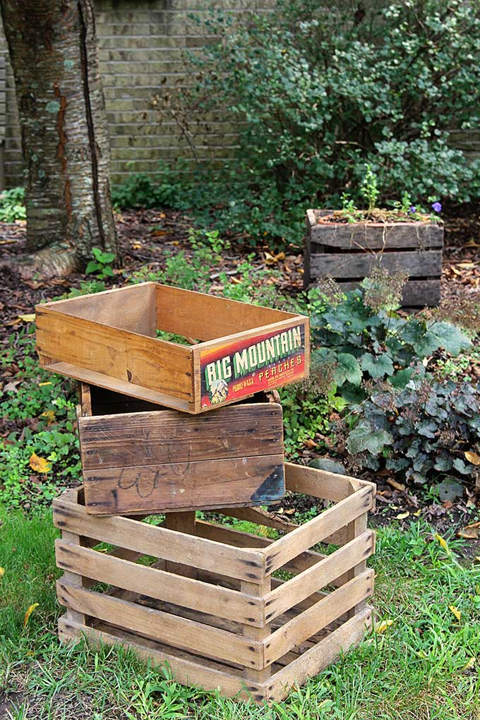 Wooden crates and boxes are cute fall porch ideas