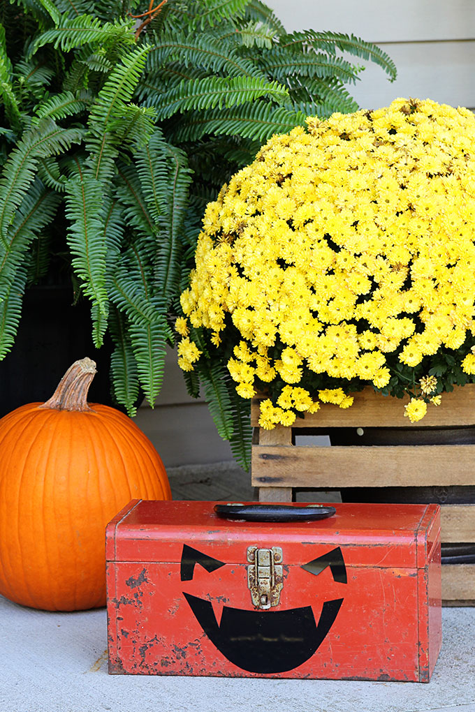Toolbox repurposed into pumpkin for Halloween