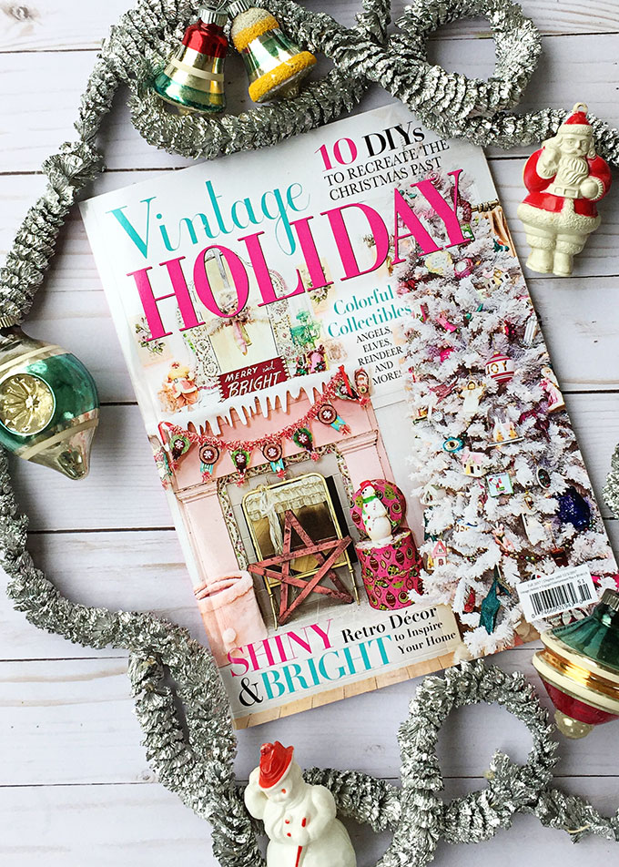 Retro Christmas decorations featured in Vintage Holiday magazine