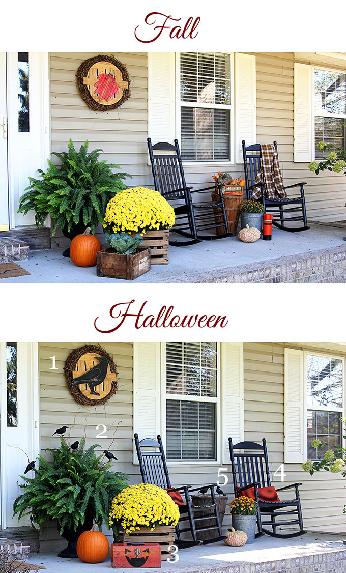 Transitioning fall porch into Halloween porch