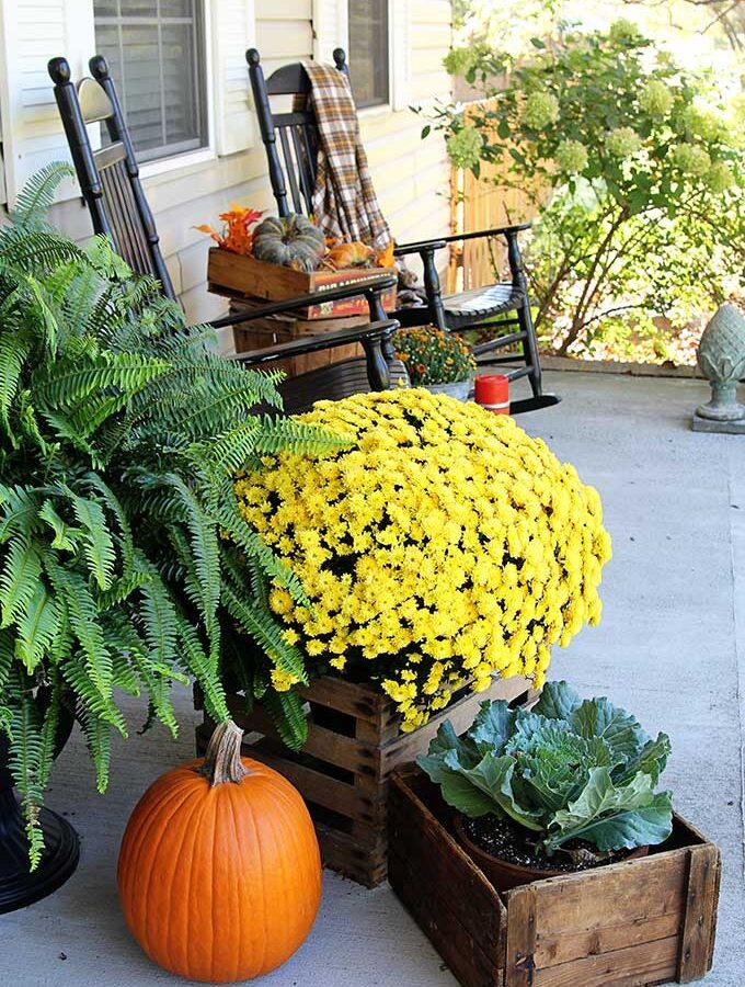 Front Porch Fall Decor: Farmhouse Porch Decor With COLOR