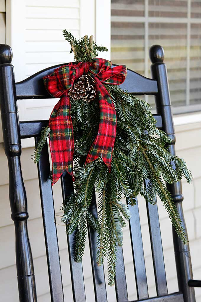 Pine boughs tied up for Christmas decor