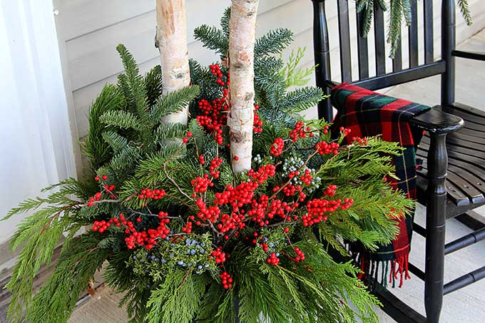 birch branches and winterberry winter porch pots - Decorating Front Porch Urns For Christmas