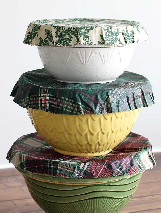 Holiday Beeswax Bowl Covers