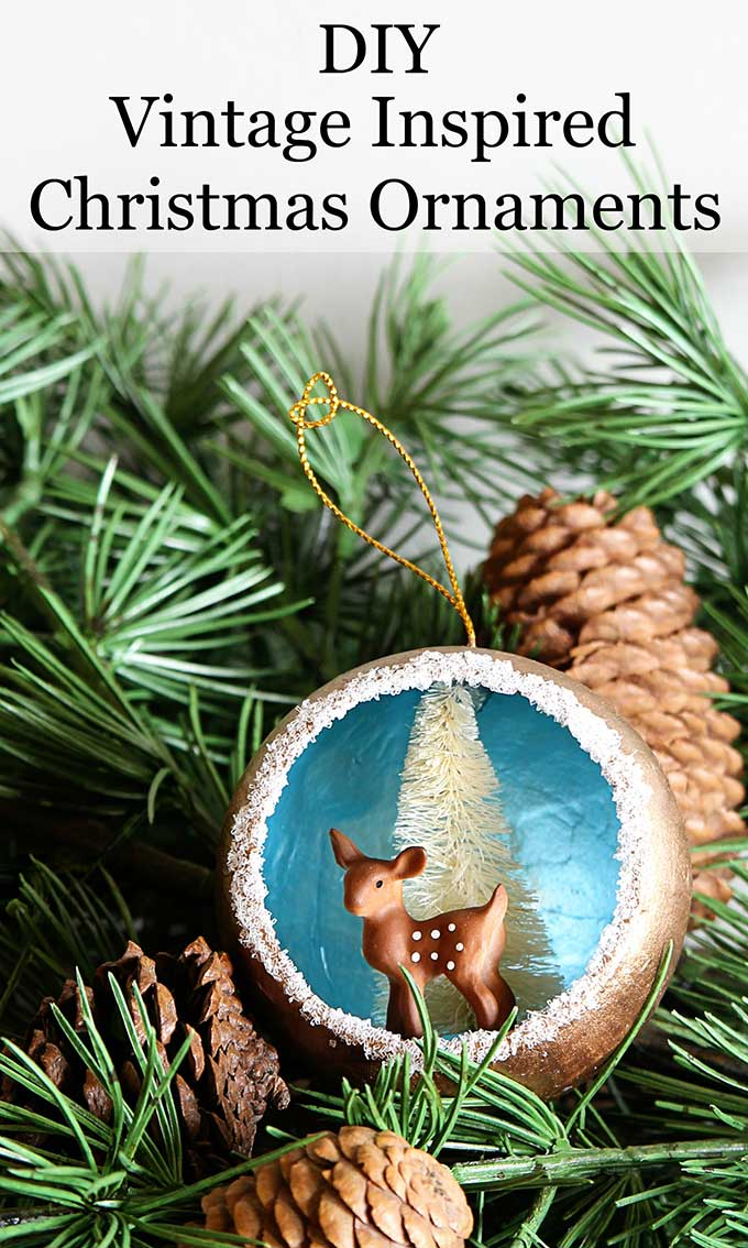 Remake nostalgic 50's Christmas decorations with this quick & easy Christmas ornament tutorial for retro Christmas diorama ornaments. #VintageChristmas #retrochristmas #retro #retrostyle #diychristmas #christmasornaments