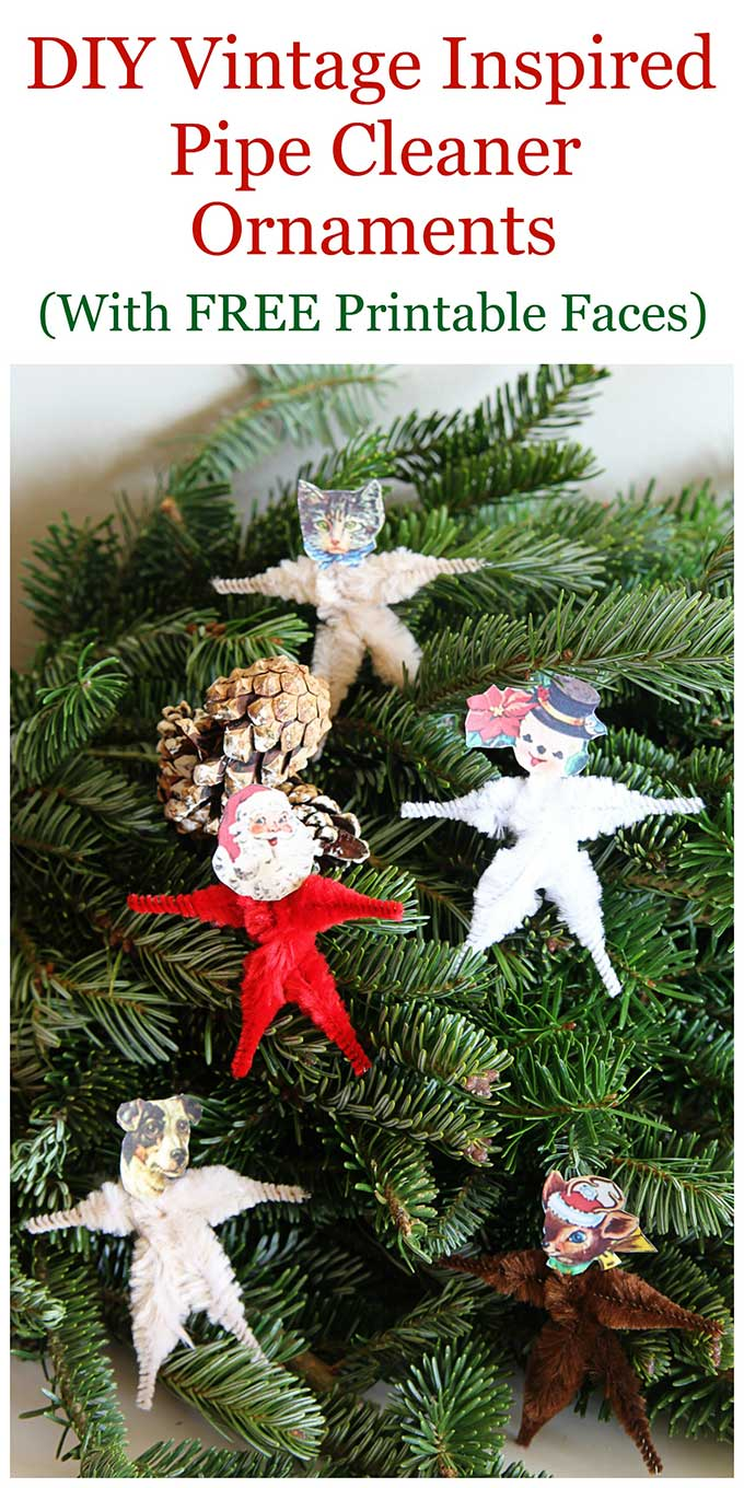 This easy to make chenille pipe cleaner Christmas craft includes free vintage style printable faces. Use as Christmas tree ornaments or package ties. #christmascrafts #pipecleanercrafts #ChristmasDecor #ChristmasDecorations #holidaydecor #VintageChristmas