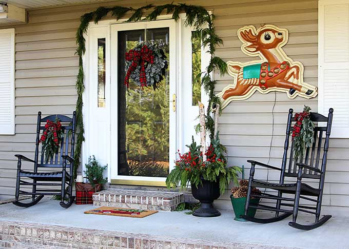 Vintage inspired front porch Christmas decorations