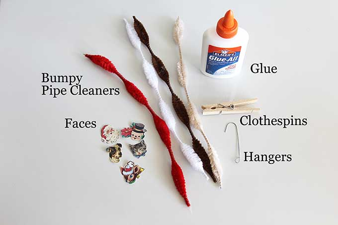 Supplies for pipe cleaner Christmas ornaments