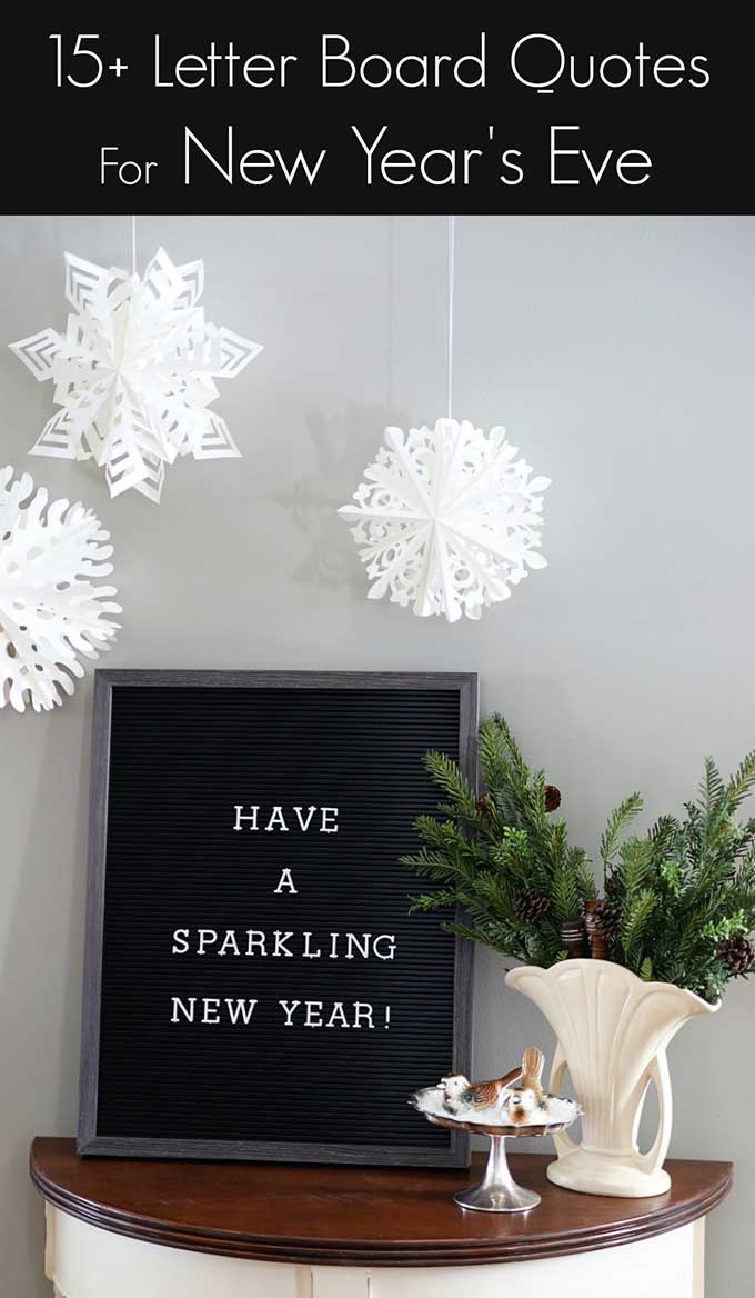 Fun inspirational and quirky letter board quotes for new years eve