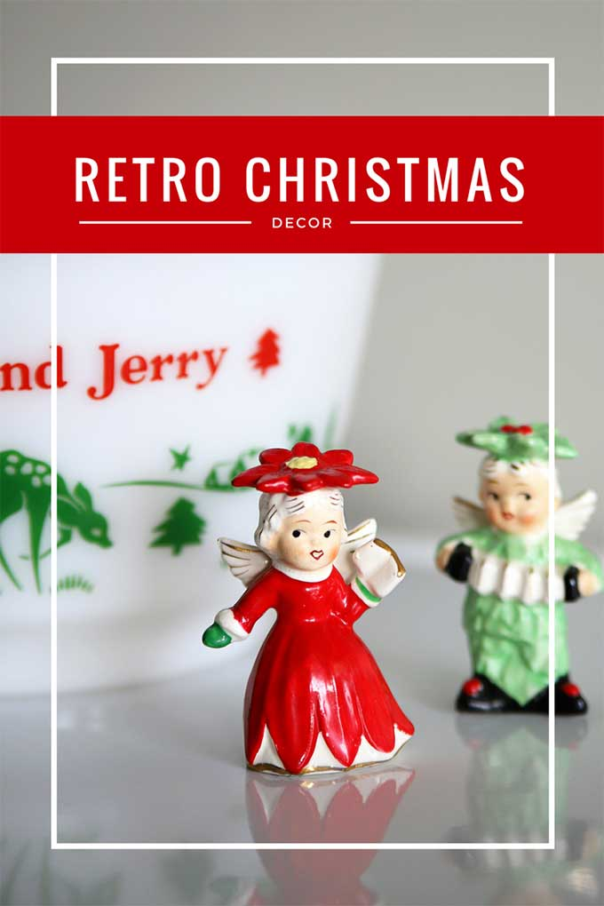 Use fun retro Christmas decor mixed in with your more modern pieces for a festive and nostalgic vintage Christmas style. #retro #retrochristmas #vintagestyle #VintageChristmas #kitschy #kitschmas #shinybrite #ChristmasDecor #christmashometour