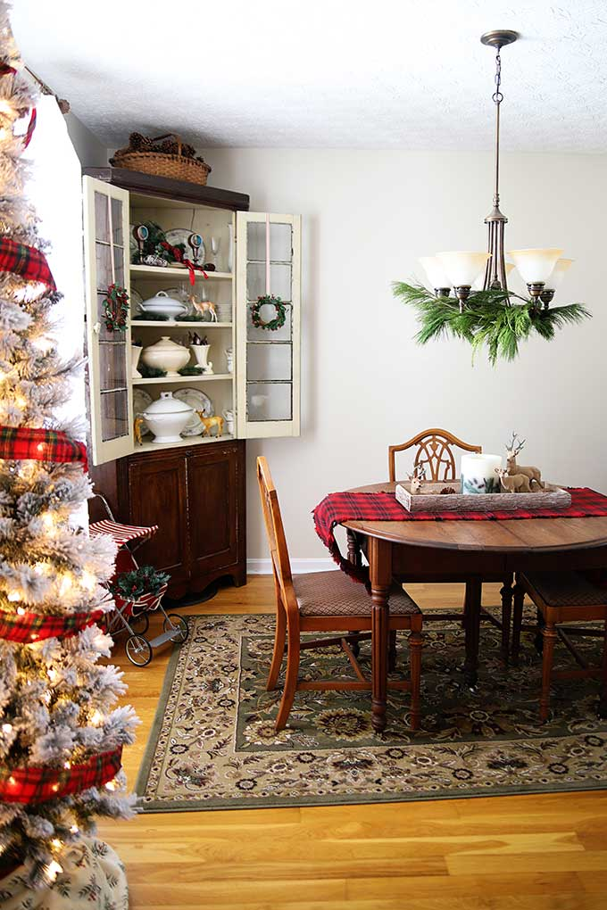 Vintage rustic Christmas decorations, including plaid decor, wooden accents and vintage reindeer. #