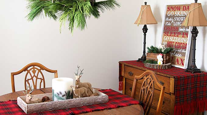 vintage rustic christmas decorations in the dining room house of hawthornes