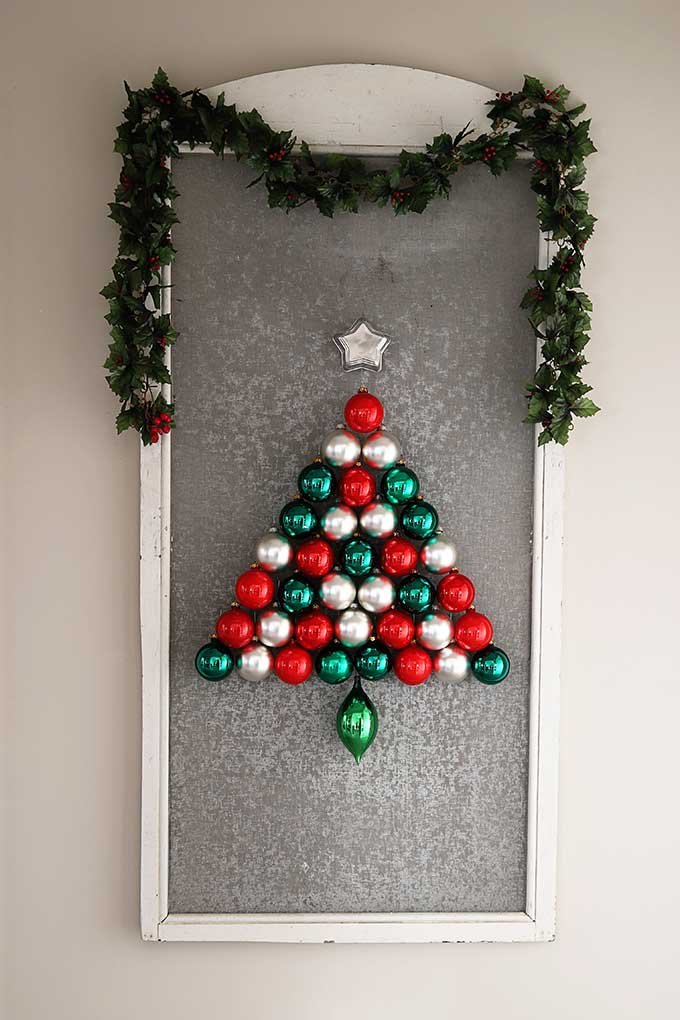 Ornaments hung on a window screen
