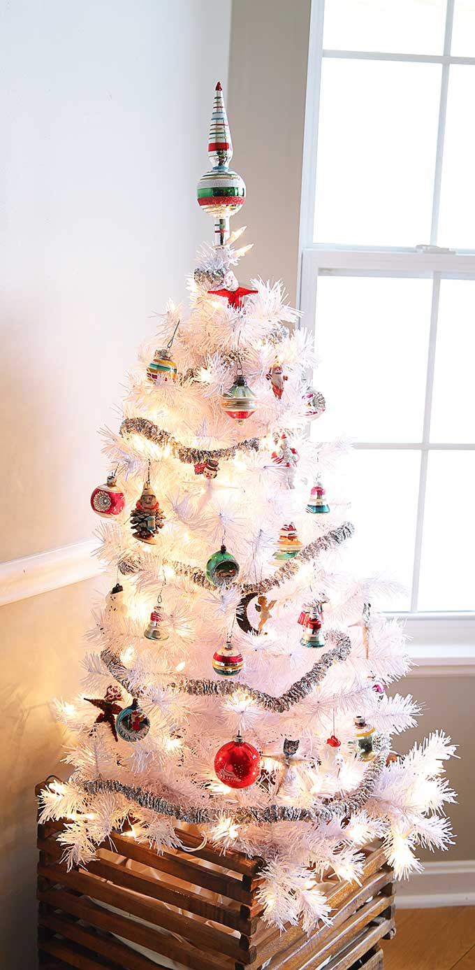 White Christmas tree with vintage Shiny Brite ornaments