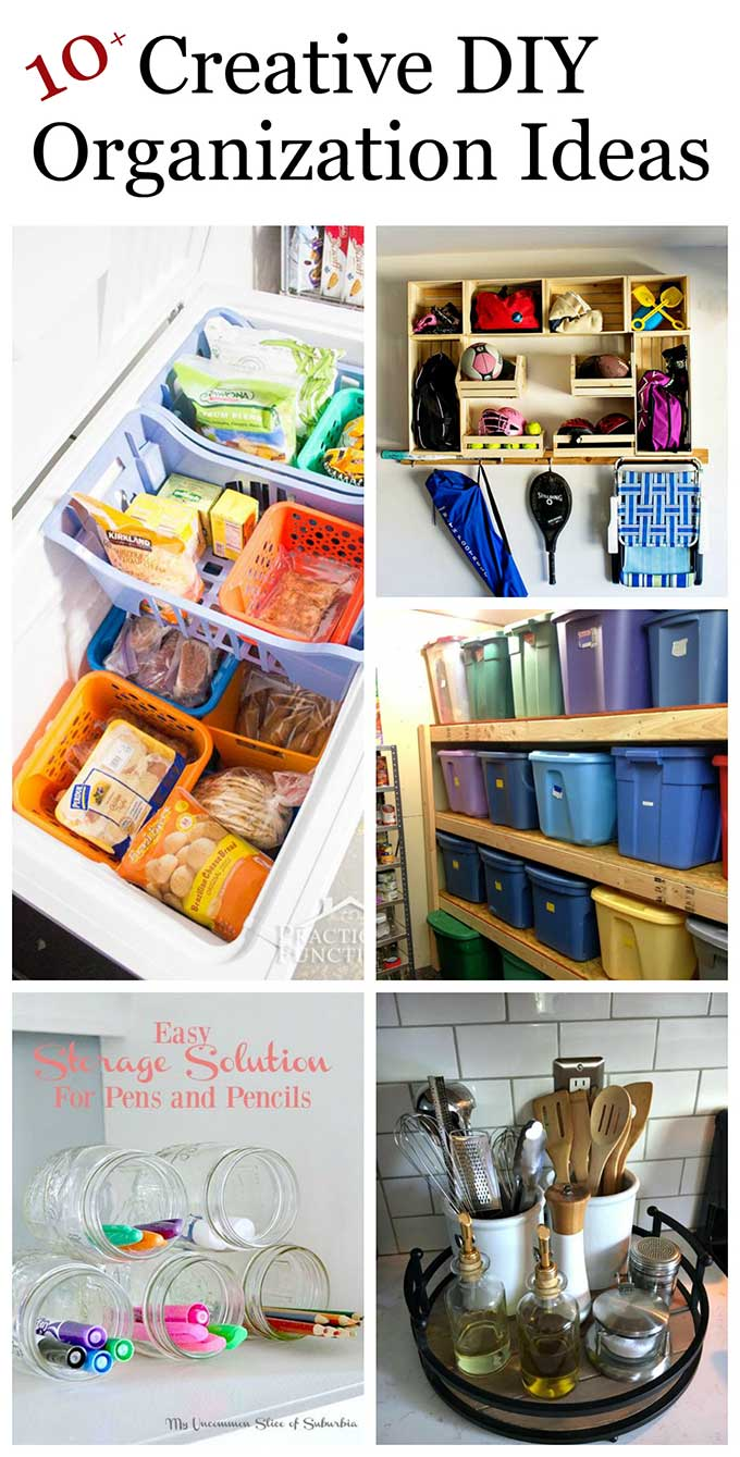 Lots of clever and creative DIY organization ideas for home. Declutttering doesn't have to be expensive or confusing when you do it yourself. #decluttering #diyorganization #organizationideas #organizationtips #organizationhacks