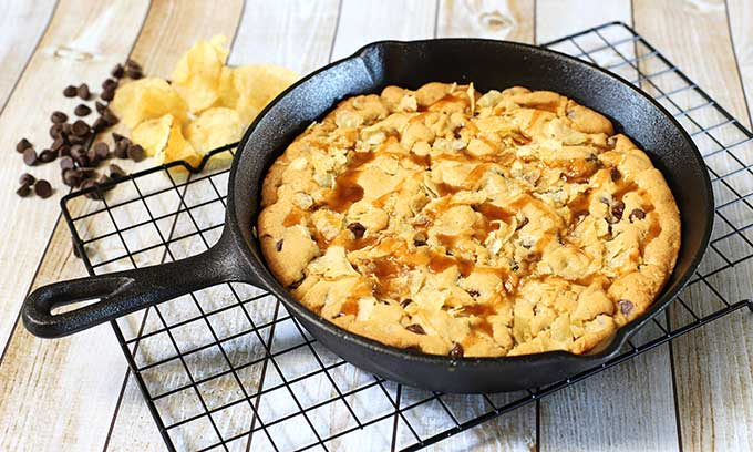 Potato Chip And Chocolate Skillet Cookies