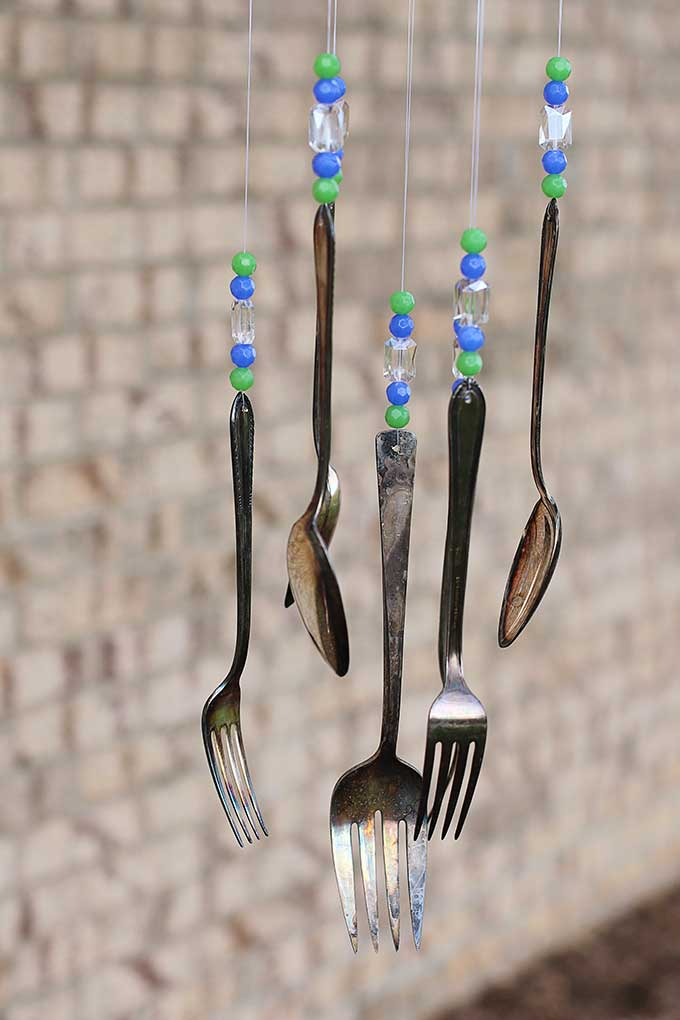 Wind chimes made with spoons and forks