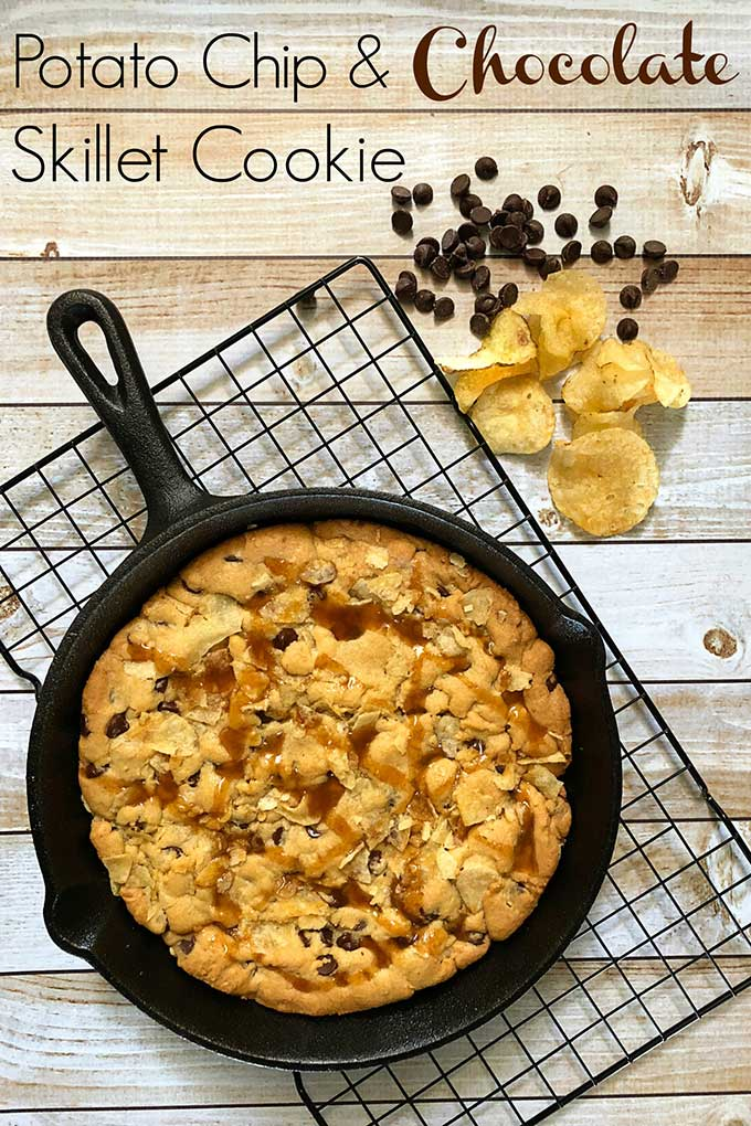 Potato chip and chocolate skillet cookie recipe #dessertrecipe #cookie