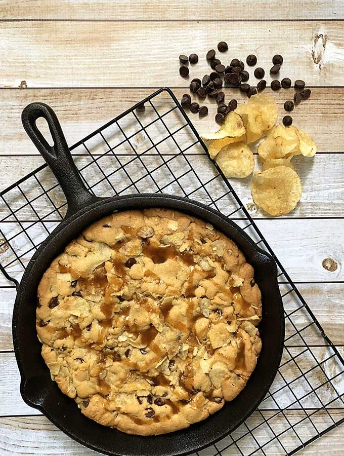Potato Chip And Chocolate Skillet Cookie