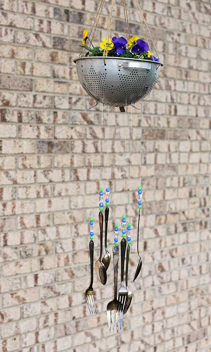 DIY wind chimes using vintage silverware
