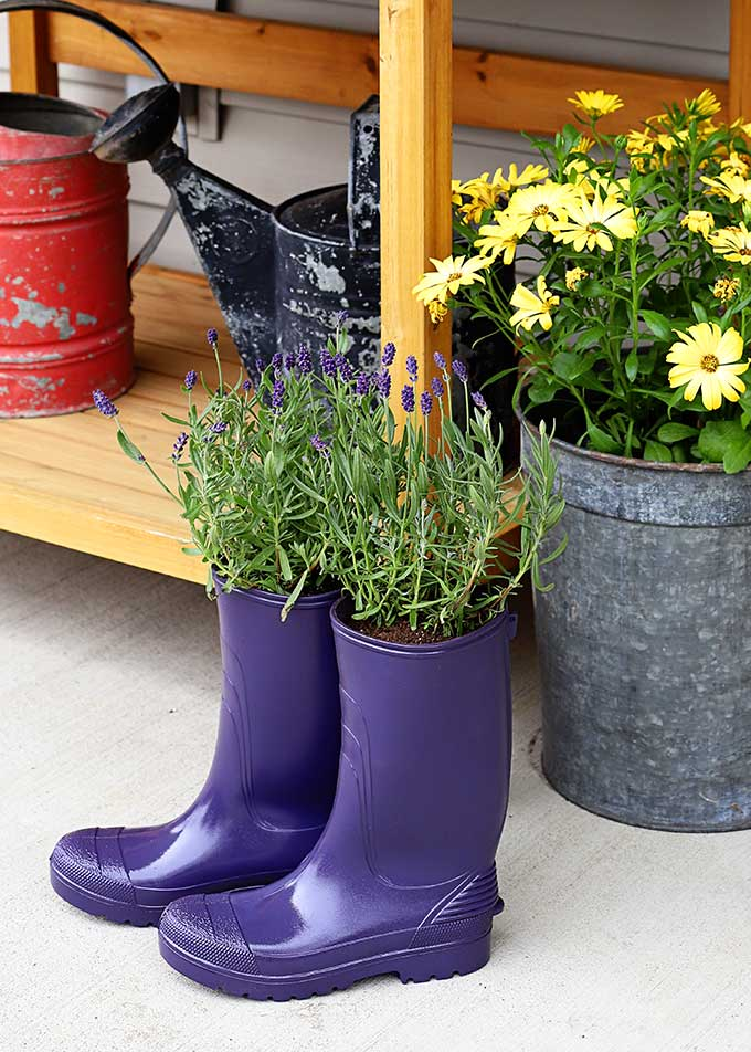 DIY rain boot planters for spring