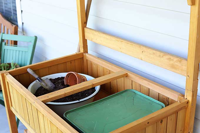 Potting bench with storage