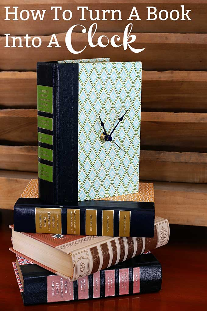 Learn how to upcycle old books into clocks. This EASY DIY craft idea is a creative use for old books that keeps them out of the landfill. #repurposed #upcycle #readersdigest #oldbooks #thriftstore #crafting #diyproject