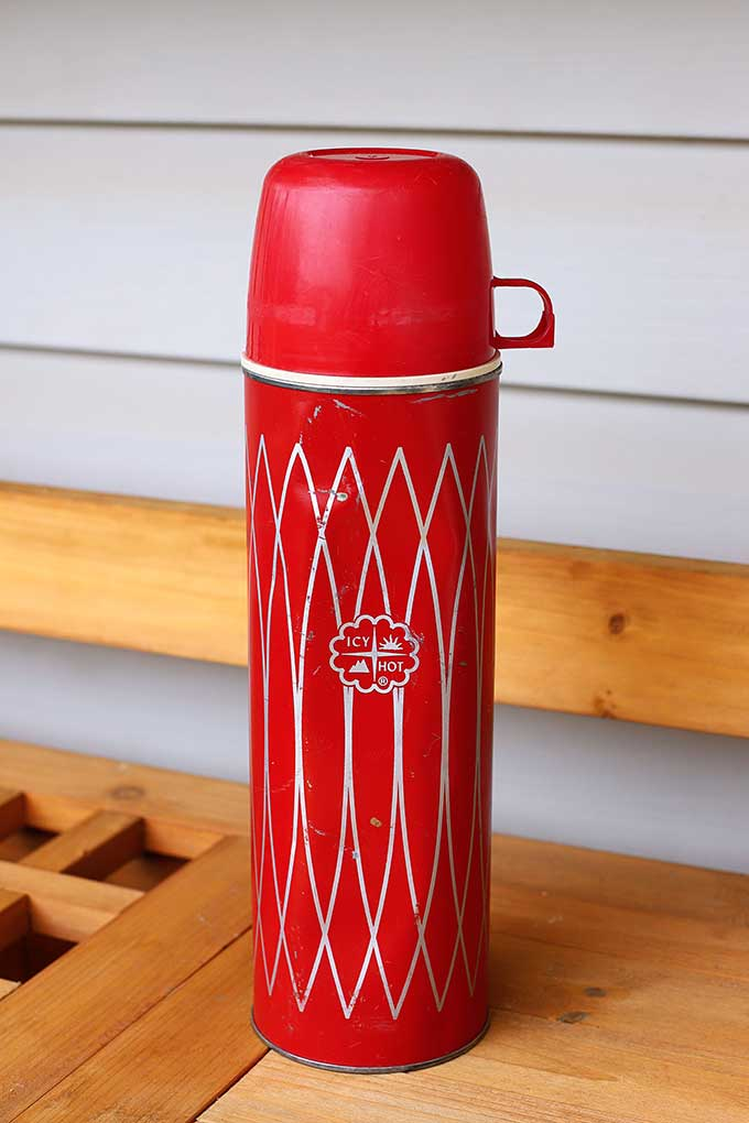 Vintage retro red Icy Hot thermos by Thermos