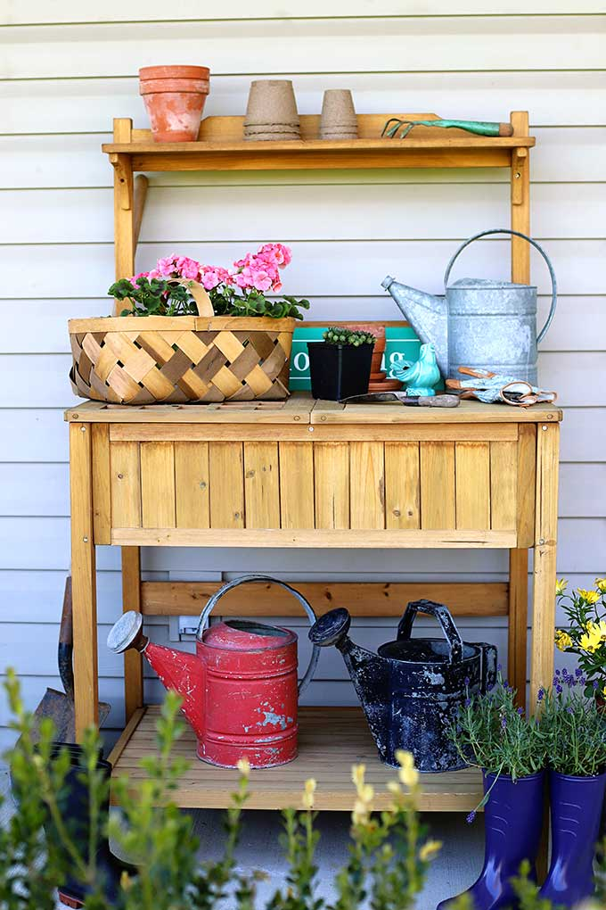 Outdoor potting bench with storage - can double as a serving station for summer entertaining