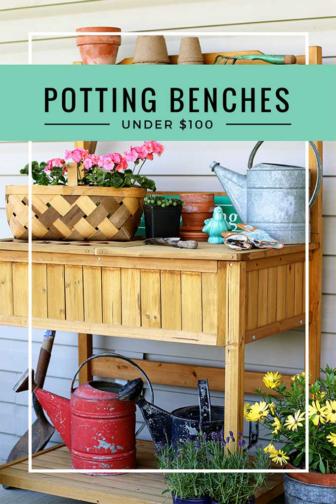 Find some amazing potting benches under $100. Most can do double duty as a outdoor serving station too if you place them on your porch. Great for summer entertaining and graduation parties!