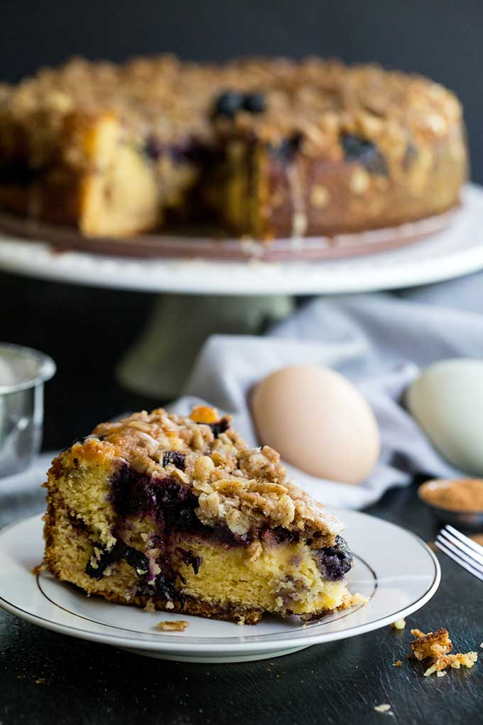 Blueberry coffee cake made with sour cream and streusel topping