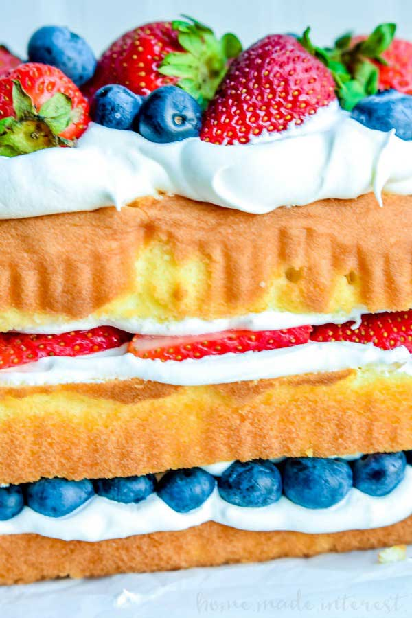 no bake patriotic cake made with pound cake