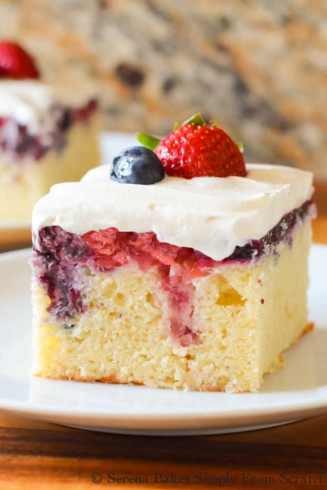 Red, white and blue patriotic poke cake