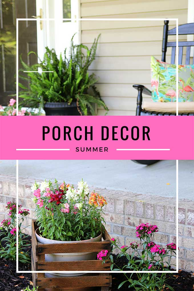 Front porch decor for summer bursting with color, personality and a little bit of whimsy! Summer porch decor doesn't have to be stuffy and boring, let's have some fun with traditional porch furniture, festive pillows and colorful summer plants! #summerstyle #porchdecor #frontporch