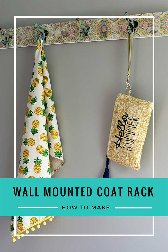 Easy to follow instructions for making your own wall mounted coat rack with hooks! Also included are instructions for the Mod Podge napkin on wood technique which is great for a boho style coat rack!