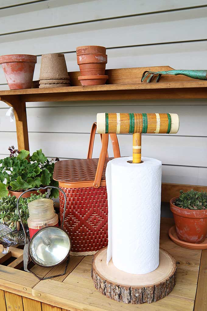 Croquet mallet repurposed into a paper towel holder!
