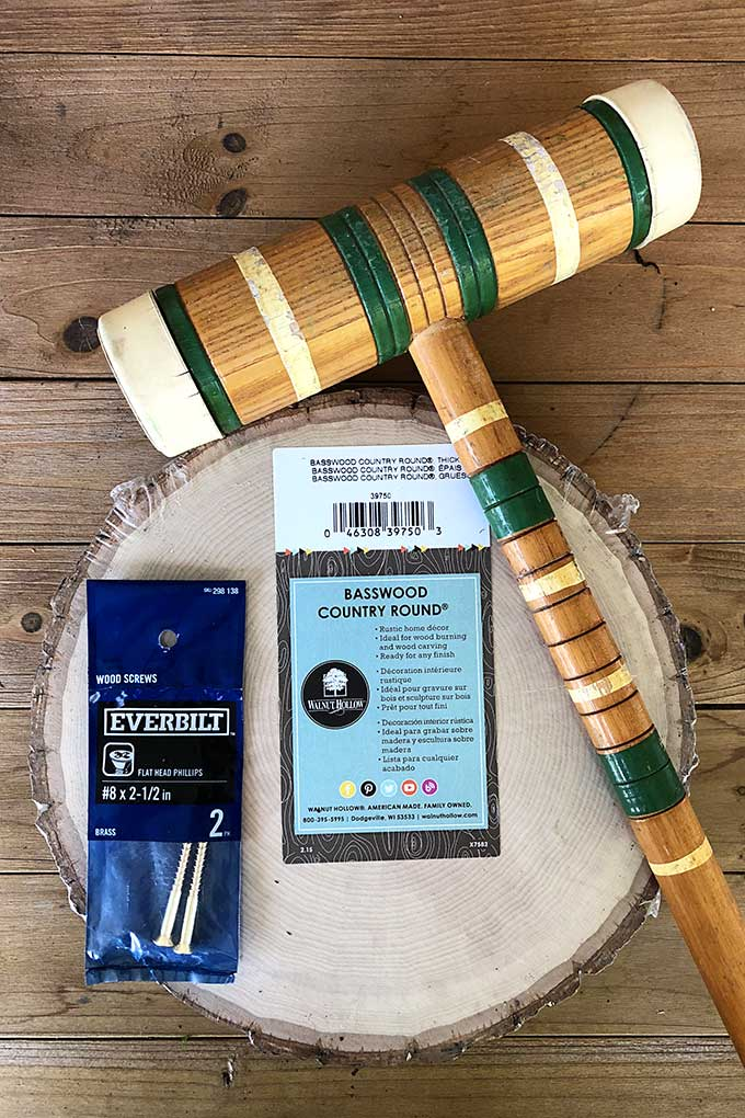 Supplies for repurposing a croquet mallet into a paper towel holder!