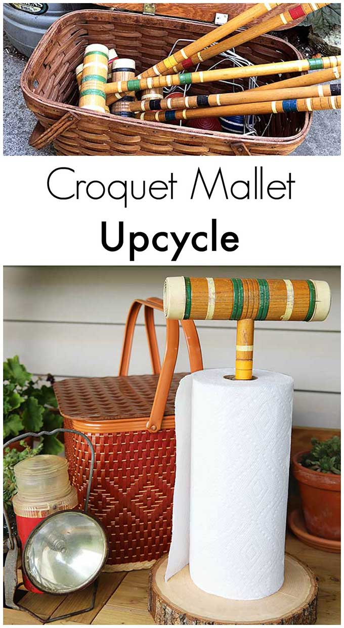 A whimsical DIY paper towel holder made from a croquet mallet. Super cute idea for picnics and summer barbecues! #upcycle #upcycling #repurpose #diy #summer