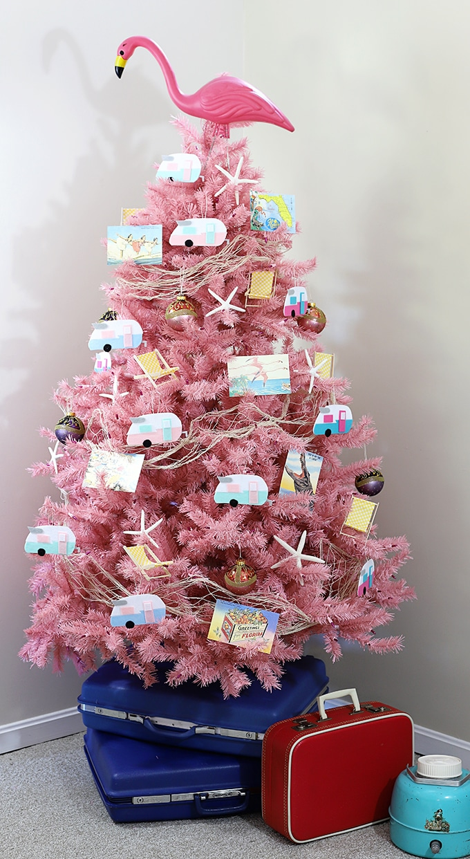 pink flamingo and vintage camper christmas tree - Flamingo Christmas Decorations
