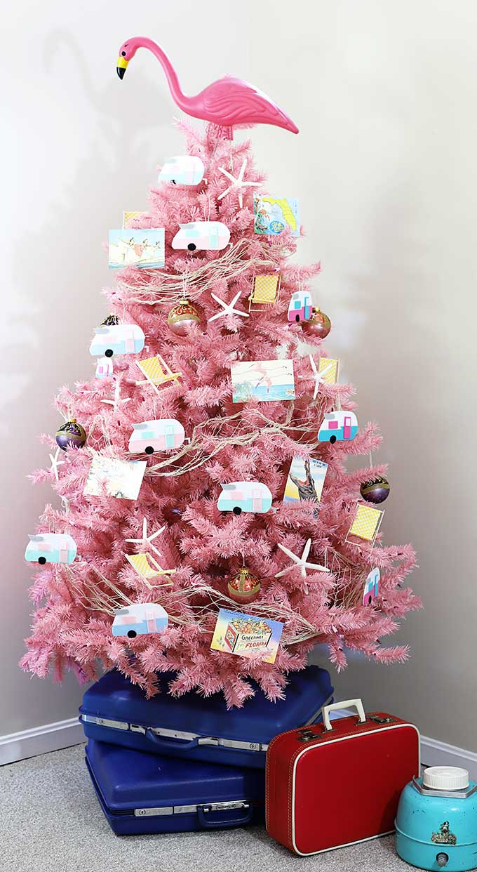 Pink flamingo and vintage camper Christmas tree