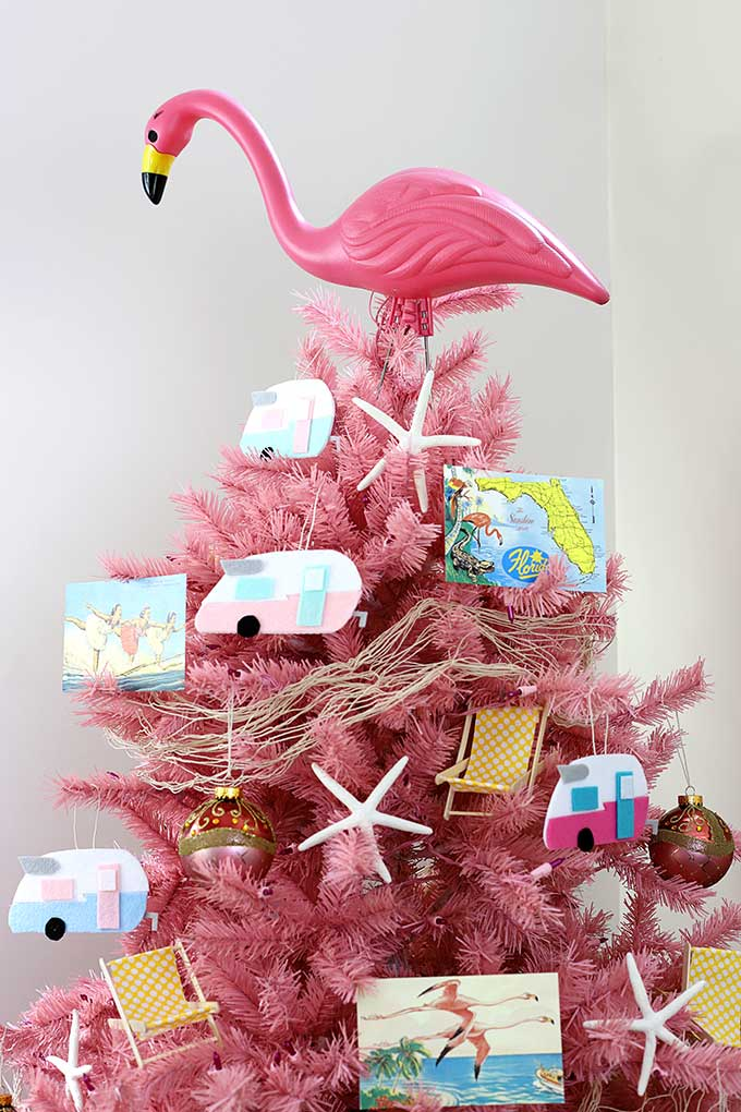 pink flamingo and shasta camper christmas tree decor - Christmas Camper Decoration